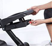 The Sole E25 elliptical trainer sports adjustable, articulating foot pedals.